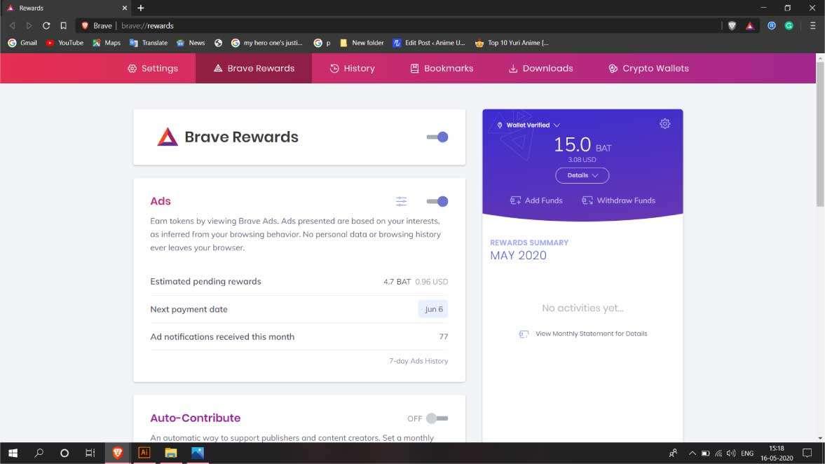 brave browser- rewards
